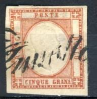 Prov Napoletane, N. 21 Rosso Carminio , 5 Grana Annullo Svolazzo N. 36, Punti 12 - 1861-78 Vittorio Emanuele II
