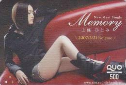 Carte Prépayée Japon - Jolie Fille / Musique - MEMORY - Girl Music Japan Prepaid Card - Frau & Musik Quo Karte - 574 - Musik