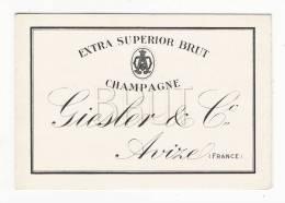 MARNE / CHAMPAGNE GIESLER & Co., à AVIZE ( Maison Fondée En 1838 ) / Carte-étiquette De Vin Publicitaire ( Tarifs 1943 ) - Labels