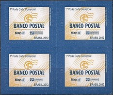 BRAZIL - BLOCK OF FOUR DEFINITIVE POSTAL BANK 2012 - MNH - Brazil