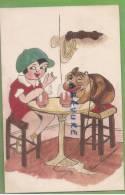 FILLETTE ET CHIENS BUVANT UNE BIERE --Illustrateur Héléne Tessonneau - Autres Illustrateurs