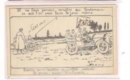 CPA AUTOMOBILE - PUBLICITE - Pneu-Cuir VULCAN - TB Illustration Signée Beguin - TB Caret Publicitaire PNEU - Cartoline