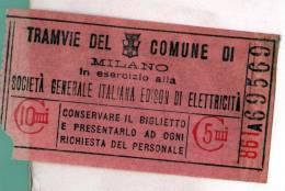 MILANO Biglietto Tramvie 1900ca Società Generale Edison 10 Centesimi - Milano