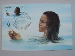 Nauru 165 Maximumkarte MK/MC, SST LONDON 1980, Nauru-Mädchen Beim Fischfang - Nauru