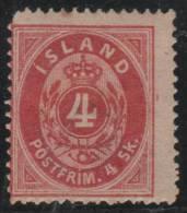 ISLANDIA 1873 - Yvert #3 - MLH * - 1873-1918 Dependencia Danesa