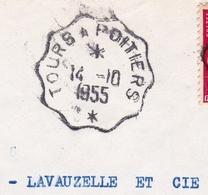 Cachet Ambulant Convoyeur Tours à Poitiers Limoges Indre Et Loire Haute-Vienne 1955 - Frankrijk