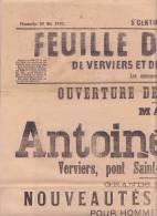 VERVIERS 1892  FEUILLE D'ANNONCES - Old Paper