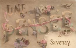 CPA   UNE PENSEE  DE SAVENAY  FANTAISIE FLEURS  SCANS RECTO VERSO - Savenay
