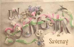 CPA  UN SOUVENIR DE SAVENAY  FANTAISIE FLEURS RUBAN SCANS RECTO VERSO - Savenay