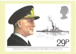 English Maritime Heritage  -  Viscount Cunningham  -  ´HMS Warspite´    -   Stamp Card - Guerra