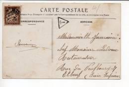 1917 Carte Postale De Honfleur Pour Elbeuf  / Taxe T  Triangle + Verso Cad Sur Semeuse - Storia Postale