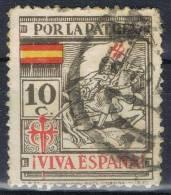 Sello Por La Patria SANTIAGO 10 Cts, VARIEDAD Imprsion, Guerra Civil ** - Viñetas De La Guerra Civil