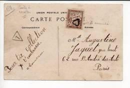 19? Carte Postale De Pont L'Abbé Pour Paris / Taxe T Dans Triangle + Timbre Taxe Annulé / Verso CAD Sur Semeuse - Lettres Taxées