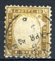Regno VE 1862 N. 1d, 10 C. Bruno Scuro, Usato, Annullo Livorno 5 Apr 62, Firmato G Oliva. Cat. € 2000 - 1861-78 Vittorio Emanuele II