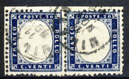 Regno VE 1862, Sassone N. 2, C. 20 Indaco, Coppia Orizzontale, Usato. Cat. € 125 - 1861-78 Vittorio Emanuele II