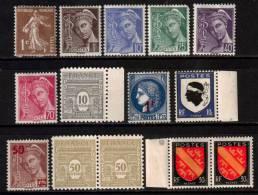 France Definitive Stamps Lot MH* - France
