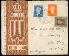 DUTCH INDIES 1948 LETTRE WITH 347-348 FROM SOERABAJA TO THE HAGUE. WITH SPECIAL JUBILEE CANCELLATION - Niederländisch-Indien