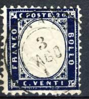 Regno VE2, 1862, Sassone N. 2, C.20 Indaco Usato Cat € 50 - 1861-78 Vittorio Emanuele II