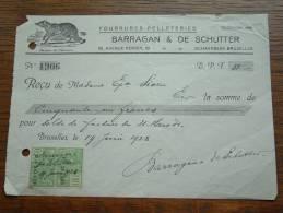 Fourrures Pelleteries BARRAGAN & DE SCHUTTER Schaerbeek Bruxelles - Reçu Sioen 1928 ! - Lettres De Change