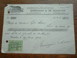 Fourrures Pelleteries BARRAGAN & DE SCHUTTER Schaerbeek Bruxelles - Reçu Sioen 1928 ! - Wechsel
