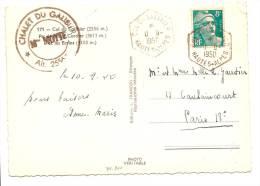 YVERT N°810 GANDON  TÀD HEX COL DU GALIBIER HAUTES-ALPES 1950 SUR CARTE POSTALE - Postmark Collection (Covers)