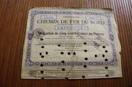 SNCF Compagnie Chemin De Fer Du Nord Emprunt 6 % Obligations 500 Fr. 1920 Titre Action Perforées Perforations - Chemin De Fer & Tramway