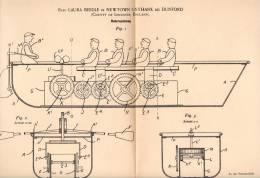 Original Patentschrift - Laura Biddle In Newtown Unthank B. Dunford , 1898 , Toy Oar , Boat , Ship , Model Building !!! - Toy Memorabilia