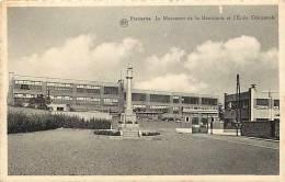 Belgique -ref A100- Frameries -le Monument De La Resistance Et L Ecole Communale   - Carte Bon Etat - - Frameries
