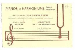 Carte De Visite, Pianos Et Harmoniums - Jacques Carpentier - Pairs (75) - Cartes De Visite