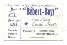 Carte De Visite, Bébert-BOys Et Son Nouvel Ensemble Musette - Montcoutour (86) - Cartes De Visite