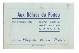 Carte De Visite, Aux Délices Du Poitou - Patisserie Confiserie - Poitiers (86) - Cartes De Visite