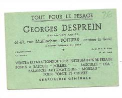 Carte De Visite, Tout Pour Le Pesage - Georges Desprein - Poitiers (86) - Cartes De Visite