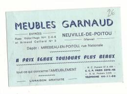 Carte De Visite, Meubles Garnaud - Neuville Du Poitou (86) - Cartes De Visite