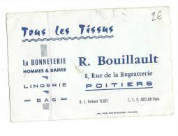 Carte De Visite, Tous Les Tissus - La Bonneterie - R. Bouillault - Poitiers (86) - Cartes De Visite