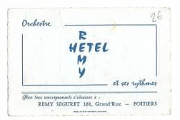 Carte De Visite, Orchestre Rémy Hetel Et Ses Rythmes - Poitiers (86) - Cartes De Visite