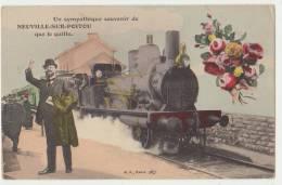 SOUVENIR EN GARE DE NEUVILLE SUR POITOU - DEPART DU TRAIN - RARE - 2 SCANS - - Neuville En Poitou