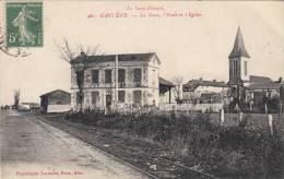 GAULENE : Rare Cliché De1916-La Gare,L'Ecole,L'Eglise,tbetat,voyagée. - Altri Comuni
