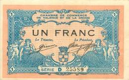 Billet Réf 198. Chambre De Commerce De Valence Et De La Drôme - 1 Franc - Chambre De Commerce