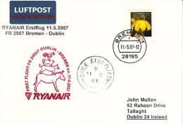 Erstflugpost - Ryanair - Bremen - Dublin - 11.05.2007 - Nebenstempel Mit Märchenmotiv [dx44f] - Domestic Cats