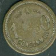 Jeton 10 à Consommer Sur Une Face, 211 Z P S C Sur L'autre Face   - Pia0603 - Monetary / Of Necessity