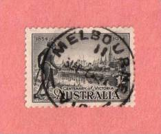 """AUS SC #144  1934 Centenary Of Victoria  W/SON (""""MELBOURNE VIC"""") CV $27.50 - 1913-36 George V : Other Issues"""
