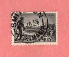 """AUS SC #144  1934 Centenary Of Victoria  W/SON (""""SMIT[HT]ON [TAS]MANIA / 7 JA 35"""") W/perf Flts @ T CV $27.50 - 1913-36 George V : Other Issues"""