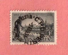 """AUS SC #144 1934 Centenary Of Victoria  W/some Perf Flts  W/SON (""""C P O PERTH / WESTERN AUSTRALIA / 3 AUG 34"""") CV $27.50 - 1913-36 George V : Other Issues"""