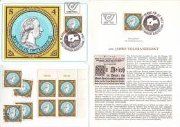 3011z29: Österreich 1981; Toleranzedikt Joseph II., **, Gest., Maximumkarte Und Ersttagsblatt - History