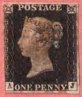 GBR SC #1  1840 Queen Victoria (Penny Black)  4 Margins  (A,J), CV $320.00 - 1840-1901 (Victoria)