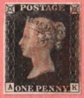 GBR SC #1  1840 Queen Victoria (Penny Black)  4 Margins  (A,K)  W/lt. Stn On Bk + Sm Nick Along UR Edge, CV $320.00 - Used Stamps