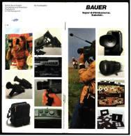 Reklame Werbe-Prospekt  -  BAUER Super-8- Filmkameras + Zubehör  -  Von Ca. 1982 - Caméscope