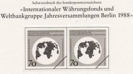 Schwarzdruck Internationaler Währungsfond 1988 Berlin 817, SD-Block 5/88 SST + 817 ** 13€ Welt-Karte Erdkugel Symbol IWF - Blocchi