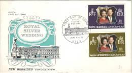 FDC Des Timbres Royal Silver Wedding, Vila, 20th Nov 72 - Neue Hebriden