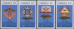 Plumbline, Seeing Eye, Compass, Book, Freemasonry MNH Jamaica - Franc-Maçonnerie